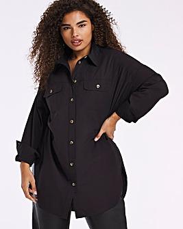 Black Cotton Poplin Longline Shirt