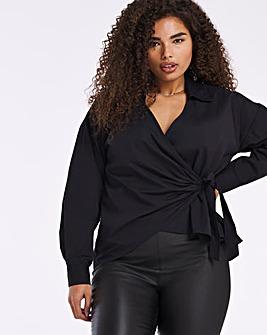 Black Wrap Tie Cotton Poplin Shirt