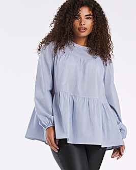 Washed Blue Tiered Smock Blouse