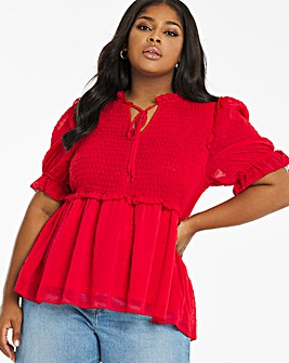 Red Shirred Dobby Peplum Blouse