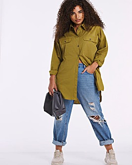 Khaki Cotton Poplin Longline Shirt