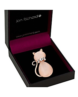 Jon Richard Pink Crystal Cat Brooch