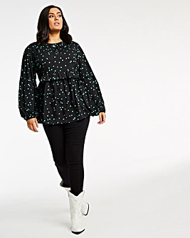 Spot Smock Top with Bow Back Detail