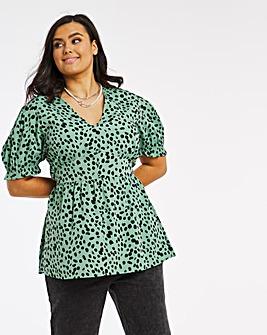 Green Print V Neck Button Front Peplum Top