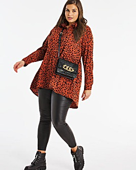 Rust Print Dipped Back Tunic