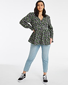 Ditsy Floral Print V Neck Button Front Peplum Top