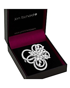 Jon Richard Crystal Flower Swirl Brooch