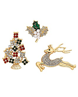 Mood Pk of 3 Xmas Brooch Set