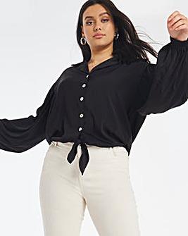 Black Tie Front Button Through Blouse