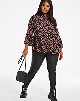 Zebra Print Viscose Smock Shirt