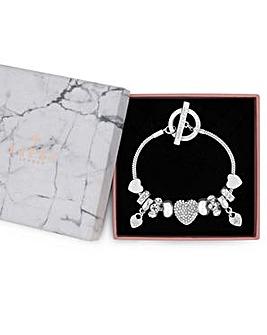 Lipsy Silver Pave Crystal Heart Charm Bracelet