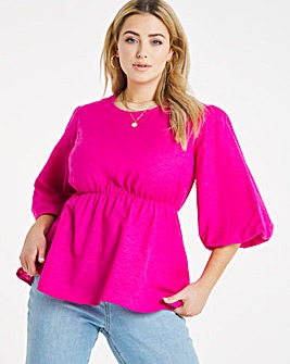 Pink Linen Puff Sleeve Peplum Top