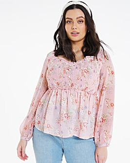 Sweetheart Neck Shirred Blouse