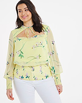 Cut Out Shirred Detail Top
