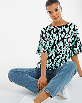 Mint Animal Print Ruffle Sleeve Tunic