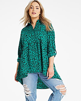 Green Spot Dipped Back Longline Tunic