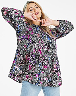 Ditsy Floral Long Sleeve Smock Top