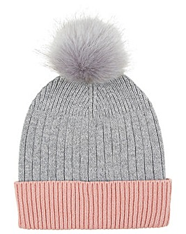 Accessorize Contrast Turn Up Pom Beanie