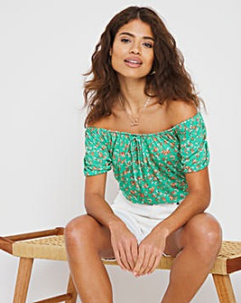 Green Floral Gypsy Top