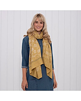 LOTUS BORDER SCARF YELLOW ONE SIZE
