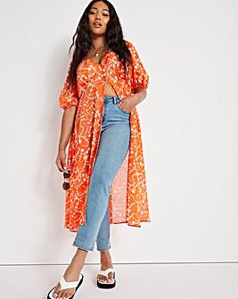Maxi Split Kimono with Puff Sleeve