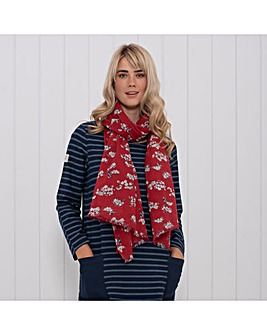 BLOSSOM FRAYED EDGE SCARF RED ONE SIZE