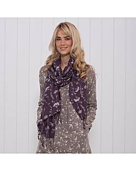 AUTUMN LEAVES TASSEL SCARF PURPLE