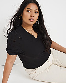 Broderie Puff Sleeve Jersey Top