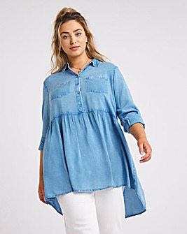 Washed Viscose Dipped Back Tunic Shirt