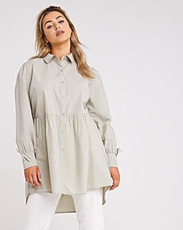 Cotton Dipped Back Tunic Shirt