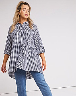 Gingham Dipped Back Tunic Shirt