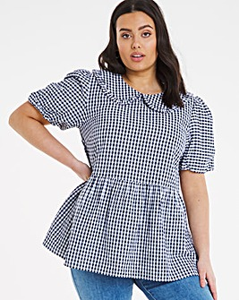 Gingham Collared Peplum Top with Puff Sleeve