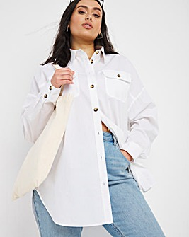 Cotton Poplin Longline Shirt