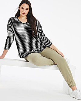 Oversized Stripe Tunic V Neck