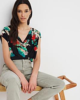 Floral Print Button Detail T-shirt
