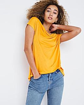 Linen Blend Button Detail T-Shirt