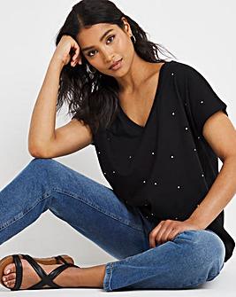 Sparkle Trim V Neck T-Shirt