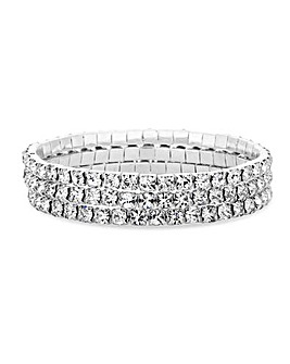 Silver Crystal Diamante Stretch Bracelet Set