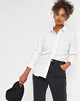 Textured Stretch Shirt With Waist Ruching