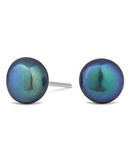 Sterling silver black pearl large stud earring