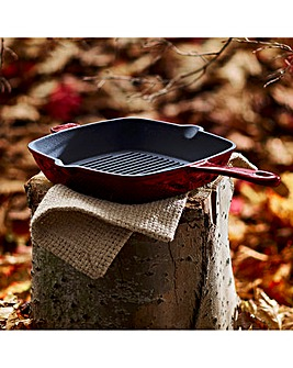 Tower Cast Iron 26cm Grill Pan Red