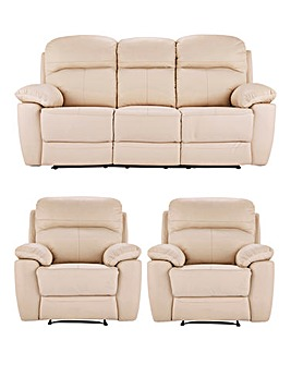 Roma Leather Three Seater plus Two Chairs