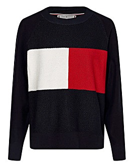 Tommy Hilfiger Textured Flag Crew Neck Sweatshirt