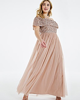 Maya Curve Sequin Bardot Maxi Dress