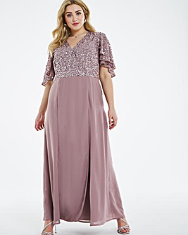 Maya Curve Delicate Sequin Cape Back Maxi Dress