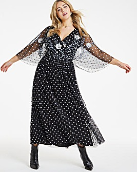 LovedrobeSpot Mesh Embroidered Maxi Dress