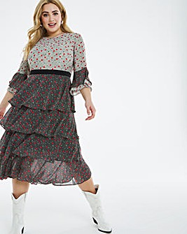 Lovedrobe Mixed Print Tiered Midi Dress