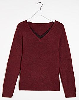 Vero Moda Lace V Neck Fine Knit Jumper
