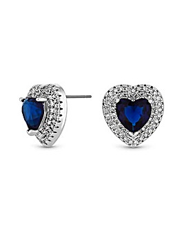 Rhodium Plated Cubic Zirconia Blue Heart Earrings