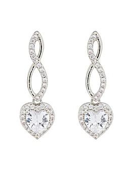Cubic Zirconia Infinity Heart Earrings